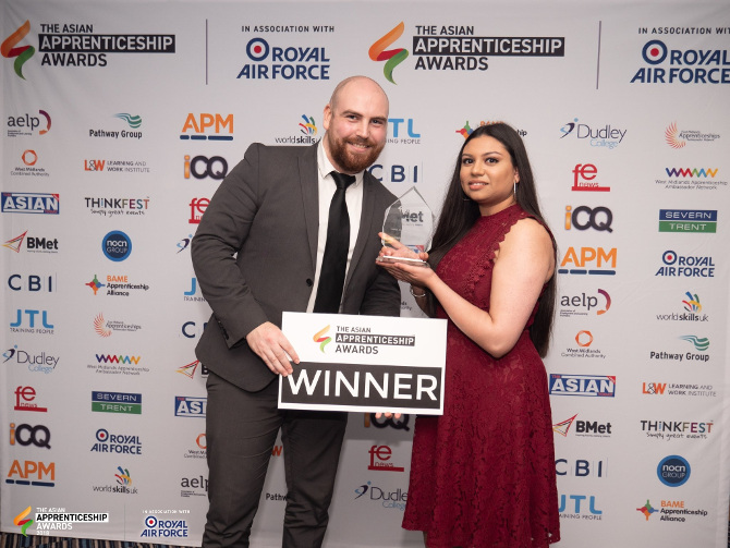 Hospitality recruitment specialist Admiral Recruitment has won an Asian Apprenticeship Award 2018. Picture shows Thomas Rose and Rima Patel from Admiral Recruitment